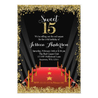 Red Carpet Hollywood Glitter Sweet 15 Quinceanera Card