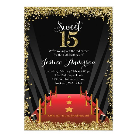 Red Carpet Hollywood Glitter Sweet 15 Quinceanera Invitation