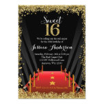 Red Carpet Hollywood Glitter Sweet 16 Birthday 5x7 Paper Invitation Card