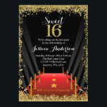 """Red Carpet Hollywood Glitter Sweet 16 Birthday Card<br><div class=""""desc"""">Trendy Hollywood themed Sweet 16 invitations. Design features a red carpet spotlights and faux gold glitter border to celebrate turning sweet sixteen. Designs are flat printed graphics - NOT ACTUAL GLITTER.</div>"""