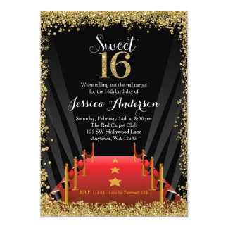 Red Carpet Hollywood Glitter Sweet 16 Birthday Card