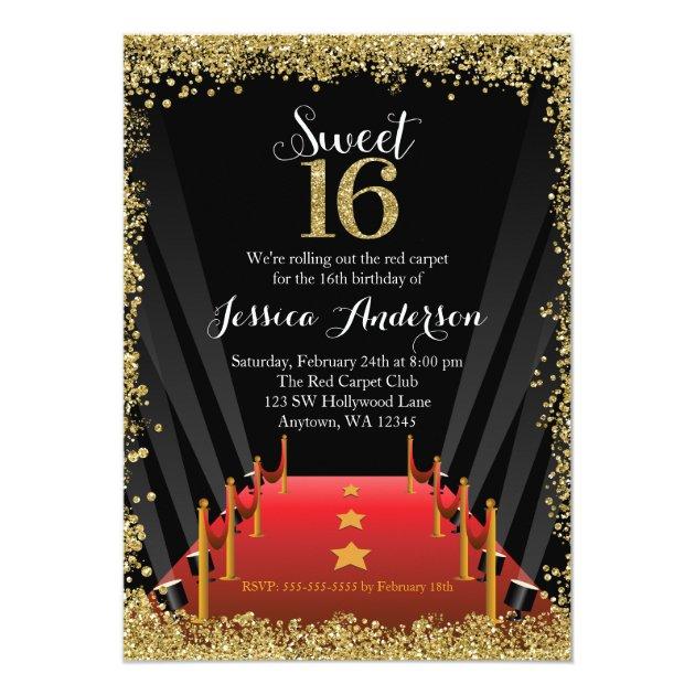 Red Carpet Hollywood Glitter Sweet 16 Birthday Card   Zazzle