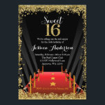 """Red Carpet Hollywood Glitter Sweet 16 Birthday Invitation<br><div class=""""desc"""">Our trendy Hollywood themed sweet 16 invitations are the perfect choice for your glam party. Design features a red carpet,  spotlights and faux gold glitter border to celebrate turning sweet sixteen. Your teen will feel like the star of the show with this unique invite!</div>"""