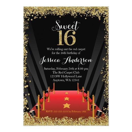 Red Carpet Hollywood Glitter Sweet 16 Birthday Invitation Zazzlecom