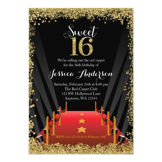 red carpet hollywood glitter sweet 16 birthday invitation zazzle com