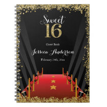 Red Carpet Hollywood Glitter Sweet 16 Guest Book