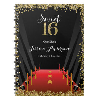 Red Carpet Hollywood Glitter Sweet 16 Guest Book Notebook