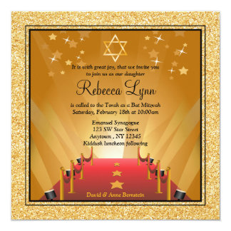 Red Carpet Hollywood Gold Star Bat Mitzvah Card