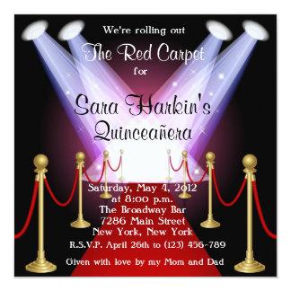 Red Carpet Hollywood Quinceañera Birthday  Invite