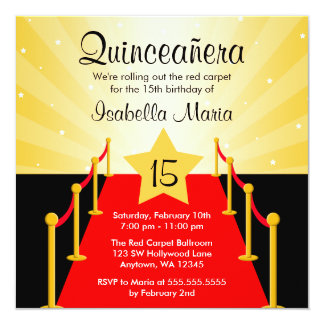 Red Carpet Hollywood Quinceanera Birthday Party Card