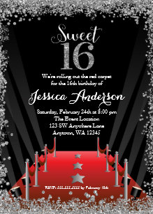 Red carpet invitations announcements zazzle red carpet hollywood silver glitter sweet 16 invitation filmwisefo