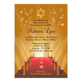 Red Carpet Hollywood Star Bat Mitzvah 5x7 Paper Invitation Card