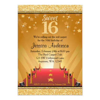 Red Carpet Hollywood Star Gold Sweet 16 Birthday Card