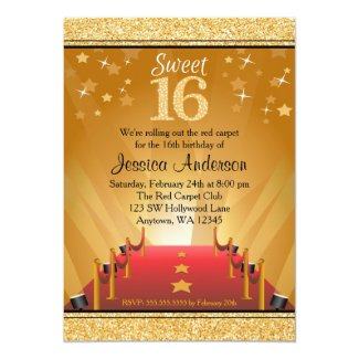 Red Carpet Hollywood Star Gold Sweet 16 Birthday 5x7 Paper Invitation Card