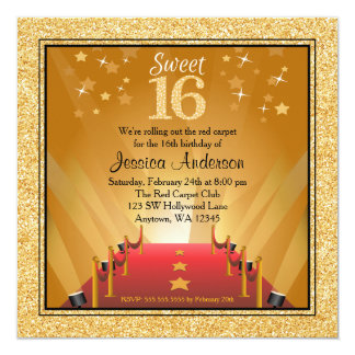 "Red Carpet Hollywood Star Gold Sweet 16 Birthday 5.25"" Square Invitation Card"