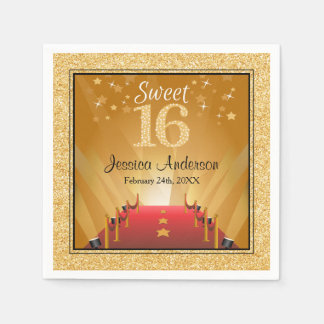 Red Carpet Hollywood Star Gold Sweet 16 Birthday Napkin