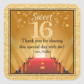 Red Carpet Hollywood Star Gold Sweet 16 Favor Square Sticker