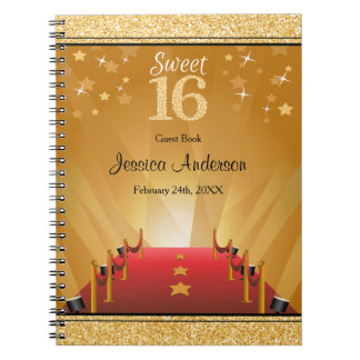 Red Carpet Hollywood Star Gold Sweet 16 Guest Book Spiral Notebook