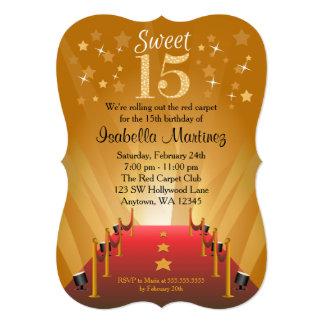 Red Carpet Hollywood Star Sweet 15 Birthday Card