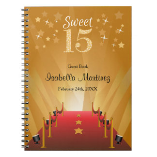 Red Carpet Hollywood Star Sweet 15 Guest Book Spiral Notebook
