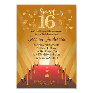 Red Carpet Hollywood Star Sweet 16 Birthday 5x7 Paper Invitation Card