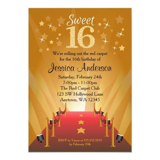 Personalized Red Carpet Party Invitations Custominvitations4u Com