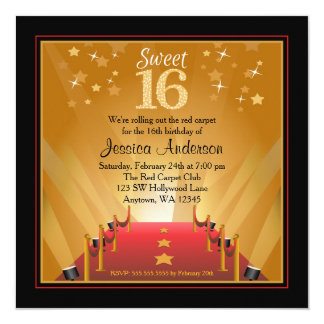 "Red Carpet Hollywood Star Sweet 16 Birthday 5.25"" Square Invitation Card"