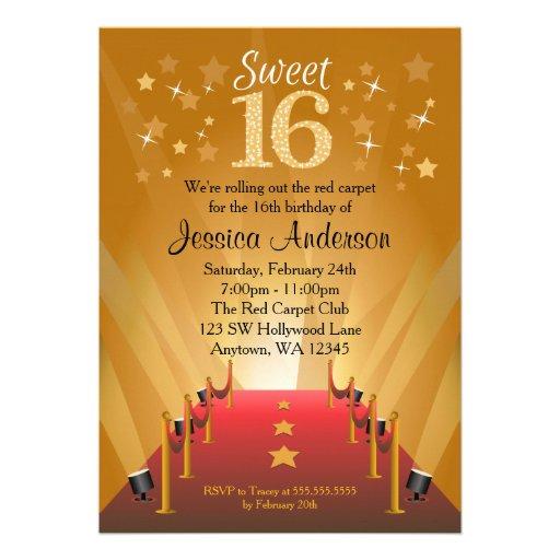 Red Carpet Hollywood Star Sweet 16 Birthday Cards