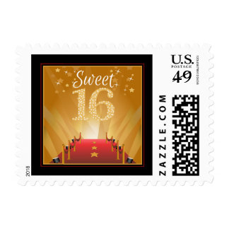 Red Carpet Hollywood Star Sweet 16 Birthday Postage Stamps