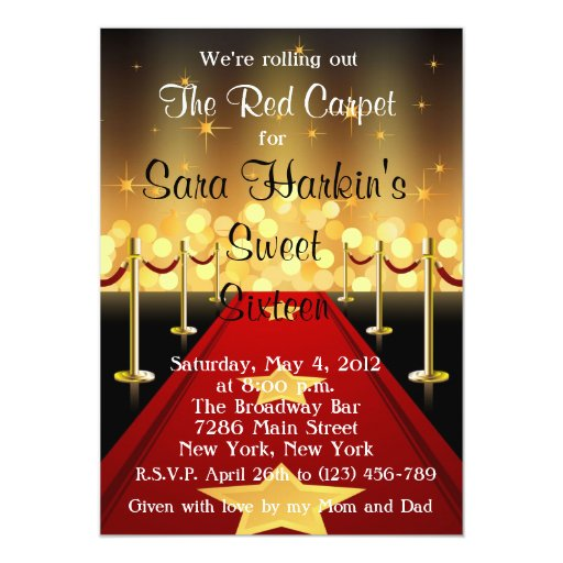 Red Carpet Hollywood Sweet 16 Birthday Invite Zazzle