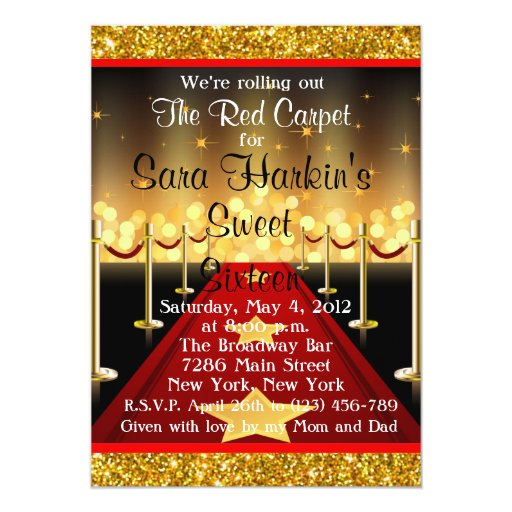 Red Carpet Hollywood Sweet 16 Birthday Invite Zazzle