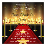 "Red Carpet Hollywood Sweet 16 Birthday  Invite 5.25"" Square Invitation Card"