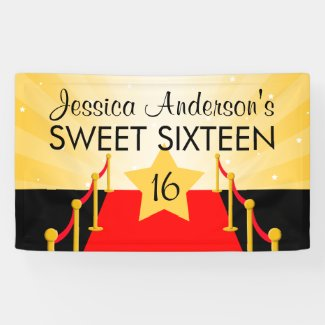Red Carpet Hollywood Sweet 16 Birthday Party Banner