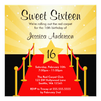 Red Carpet Hollywood Sweet 16 Birthday Party Invite