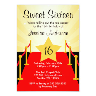 Red Carpet Hollywood Sweet 16 Birthday Party 4.5x6.25 Paper Invitation Card