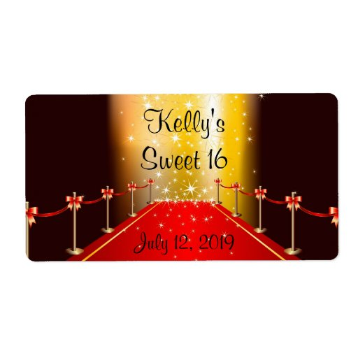 Red Carpet Hollywood Sweet 16 Custom Favor Label