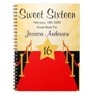 Red Carpet Hollywood Sweet 16 Guest Book Spiral Notebook