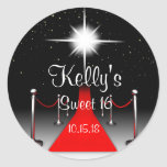 Red Carpet Hollywood Sweet 16 Party Favor Labels Classic Round Sticker