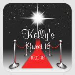 Red Carpet Hollywood Sweet 16 Party Favor Labels Square Sticker
