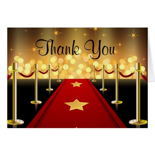Red Carpet Hollywood Sweet 16 Thank You Card Zazzle
