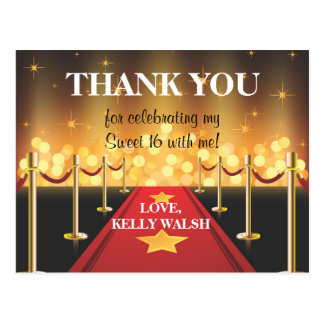 Red Carpet Hollywood Sweet 16 Thank You Postcard