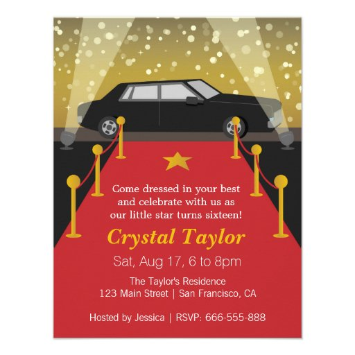 Red Carpet, Hollywood Theme Party, Girl Birthday Announcements