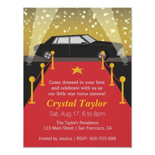 Red Carpet Hollywood Theme Party Girl Birthday Invitation Zazzle Com