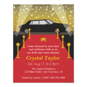 Red Carpet Hollywood Theme Party Birthday Invitation