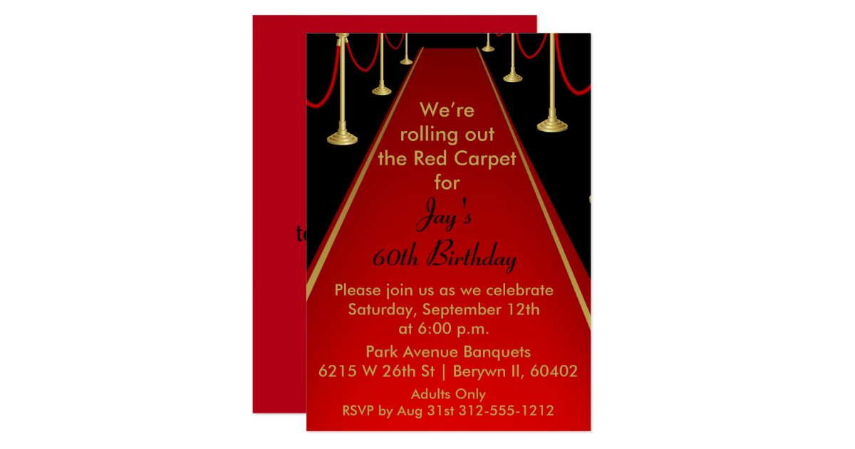 Red Carpet Invitation Hollywood Theme Sweet 16 Zazzle Com