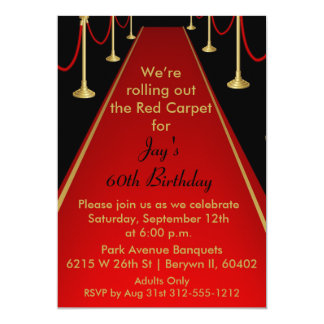 Red Carpet Invitation Hollywood Theme Sweet 16
