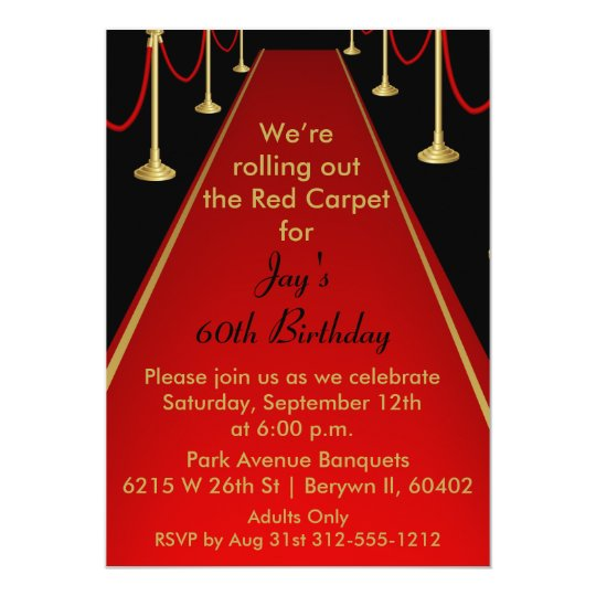 Red Carpet Invitation Hollywood Theme Sweet 16 Zazzlecom