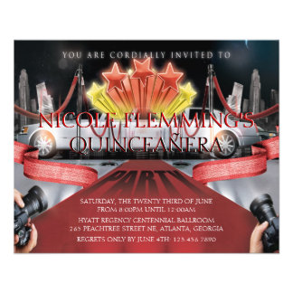 Red Carpet Quinceañera Invitation Flyer