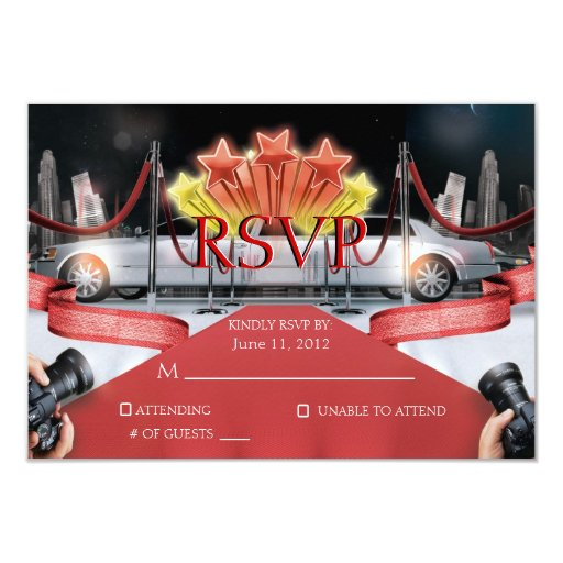 Red Carpet RSVP Card Personalized Invitation