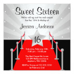 Red Carpet Silver Hollywood Sweet 16 Birthday 5.25x5.25 Square Paper Invitation Card